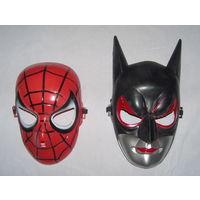 Маска оригинальная Бетмен и Человек Паук. Прочный пластик. Универсальный размер. Новая. Недорого!