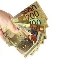 Золотые банкноты 5, 10 , 20 , 50 , 100 , 200 и 500 Евро. Цветные. 7 банкнот в лоте.