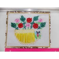 Картина - корзина с цветами, самодельная из лент и бусин