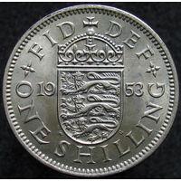 Великобритания 1 шиллинг 1953 коронационный английский щит (387)