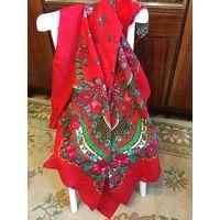 Платок павлопосадский шаль Шерсть СССР 70-80 гг большая красивая красная в цветы бутоны 1,25 м х 1,25 м