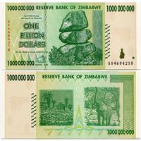 Зимбабве. 1 000 000 000 долларов (образца 2008 года, P83, UNC)