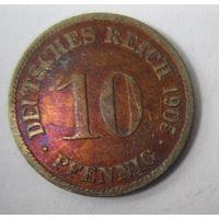 Германия. 10 пфеннигов 1905 D . 1-50