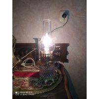 Лампа настольная. Франция. Стекло, металл. Винтаж.