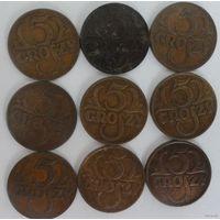 Подборка монет по 5 грошей