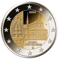 2 евро 2013 Германия A Федеральные земли Германии - Монастырь Маульбронн, Баден-Вюртемберг UNC из ролла