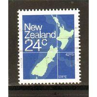 Новая Зеландия.Ми-840.  Карта Новой Зеландии. 1982.