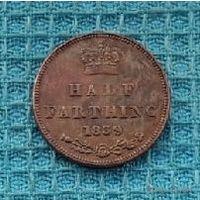 Великобритании 1/2 фартинга 1839 года. Виктория. Корона. RRR