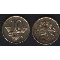 Литва km106 10 центов 1997 год (посл.год)(тип A) (h02)