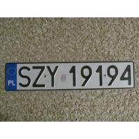Автомобильный номер Польша SZY19194