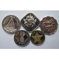 Багамы комплект 5 монет 1975 - пруф!
