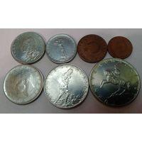 Турция 5, 10, 25, 50 куруш, 1, 2 1/2, 5 лир набор из 7 монет (акционная цена)