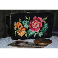 ВИНТАЖНАЯ СУМКА: Китайская театральная вышитая сумочка,*модная у нас в 1950е-1960е.