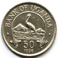 Уганда 50 центов 1976 года. Журавль (XF-UNC)