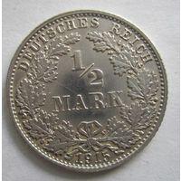 Германия. 1\2 марки 1915 D. Серебро . 105