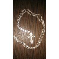 Цепочка с крестиком серебро