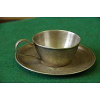Чашка с блюдцем кофейная ( мельхиор )