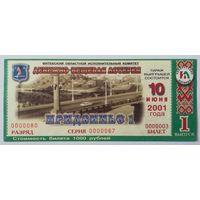 Лотерейный билет Придвинье-1 Выпуск 1 (10.06.2001)