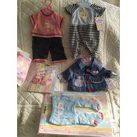Набор одежды для кукол Беби Борн 43 см оригинальный(в комплекте 5 единиц одежды одним лотом), Zapf Creation(Германия).   Цена за 5 единиц+подарок