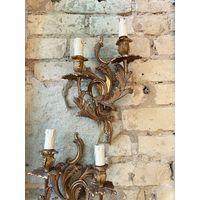 Антикварные бронзовые бра в стиле барокко
