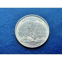 США. 25 центов (квотер, 1/4 доллара) 1999 D. Коннектикут. (1).
