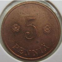 Финляндия 5 пенни 1938 г. В холдере (g)