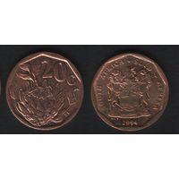 Южная Африка (ЮАР) km136 20 центов 1994 год (b06)