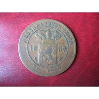 2 1/2 цента 1857 год Нидерландская (Голландская) Индия
