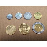 Уругвай набор 7 монет 1994-2008 UNC (50 сентесимо AU)