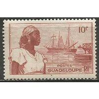 Гваделупа. Островитянка. Гавань. 1947г. Mi#214.