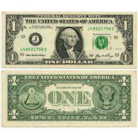США. 1 доллар (образца 2006 года, J, Миссури (Канзас Сити), P523)