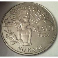 Остров МАУИ (ГАВАЙИ) 2 доллара 2014 год Изображение Бога ТИКИ