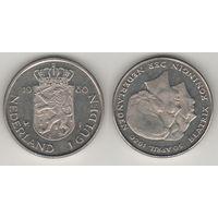 Нидерланды km200 1 гульден 1980 год (Коронация королевы Беатрис) km200 Ni (f09)**