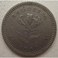 Родезия 6 пенсов (5 центов) 1964 г. Цена за 1 шт. (gl)