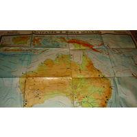 Австралия и Новая Зеландия. Физическая карта.