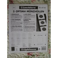 Листы для монет, Leuchtturm(Германия), OPTIMA K67, упаковка (5листов+5прокладок), для монет в холдерах 67*67мм, прозрачные, новые.