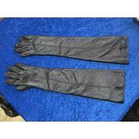 Перчатки кожаные женские длинные, размер 6,5.