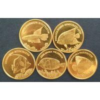 Малуку. Индонезия 5 Рупий 2017 г. Рыбки. Набор 5 монет.
