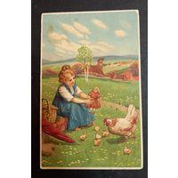Старинная открытка девочка с куклой
