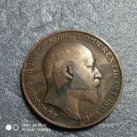 G Великобритания 1 пенни 1908 г. Едуард Едвард 7-й