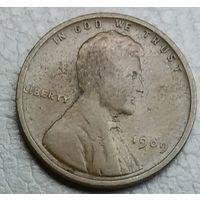 США 1 цент 1909. Без отметок МД.