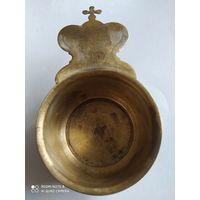 Ковш для теплоты. 19 век. Сербрение остатки. Латунь. Теплота веры исполни духа святого.