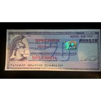 Дорожный чек American Express образец