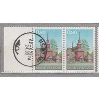 Финляндия Деревянная церковь в Керу 1971 год лот 4 Сцепка ЧИСТАЯ и гашеная менее 30% то каталога можно раздельно