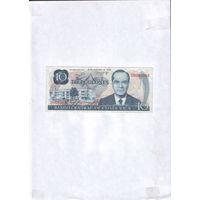 Банкнота 10 colones Costa Rica 1972 P-237