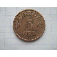 Норвегия 5 эре 1957г.km400
