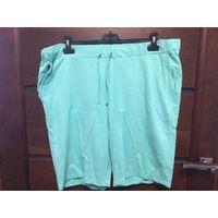 Классные шорты мятного цвета на 58-62 размер, приятная на ощупь ткань. Шорты новые, не носила. Длина 55 см, ПОТалии тянется 54-65 см. У меня есть такие же другого цвета, отлично носятся.