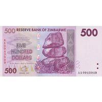 Зимбабве 500 долларов 2007 UNC