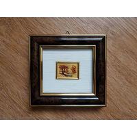 Винтажная миниатюра Италия ORO FOGLIA - хромолитография, стекло, золото, 14 х 13 см Сертификат / ПЕЙЗАЖ-2