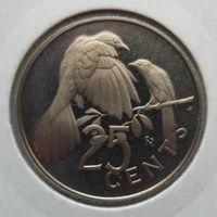"""Британские Виргинские острова 25 центов 1974 """"Мангровые кукушки, королева Елизавета II"""""""